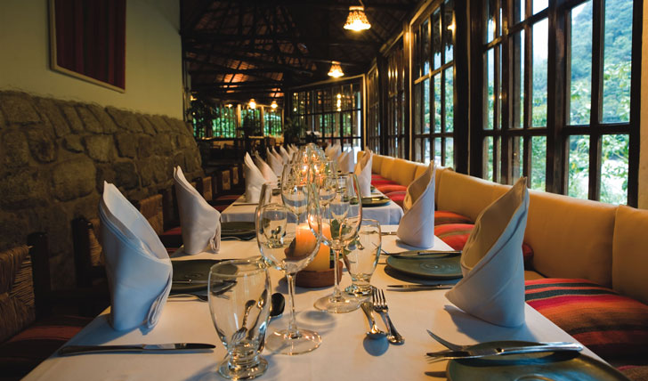 Luxury hotel guestroom dining at Inkaterra, Machu Picchu, Peru