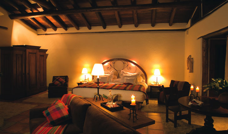 Luxury hotel guestroom at Inkaterra, Machu Picchu, Peru