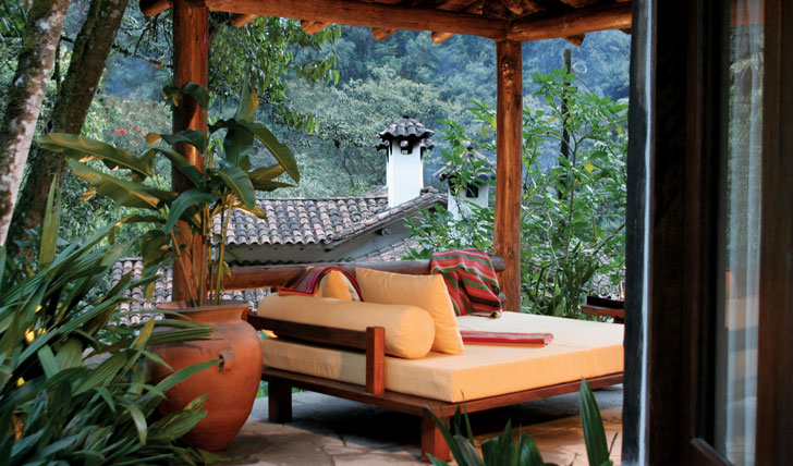 Luxury hotel villa terrace at Inkaterra, Machu Picchu, Peru