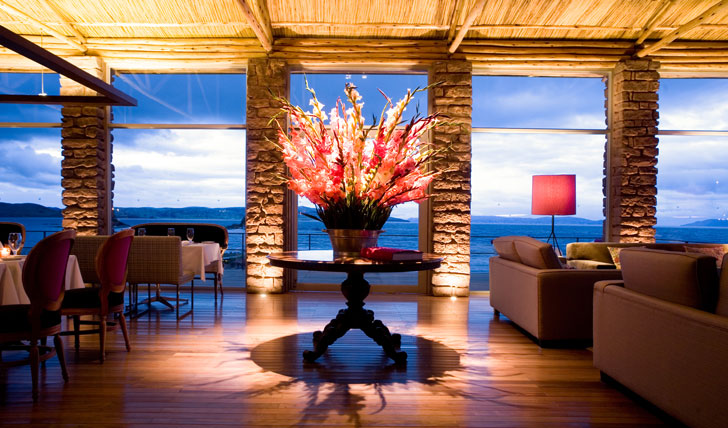 Luxury hotel dining area at Titilaka Lodge, Lake Titicaca, Peru