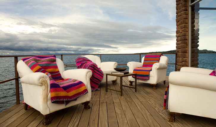 Luxury hotel veranda at Titilaka Lodge, Lake Titicaca, Peru