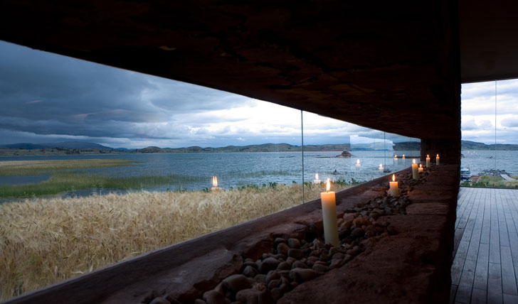 Luxury hotel view of lake from Titilaka Lodge, Lake Titicaca, Peru