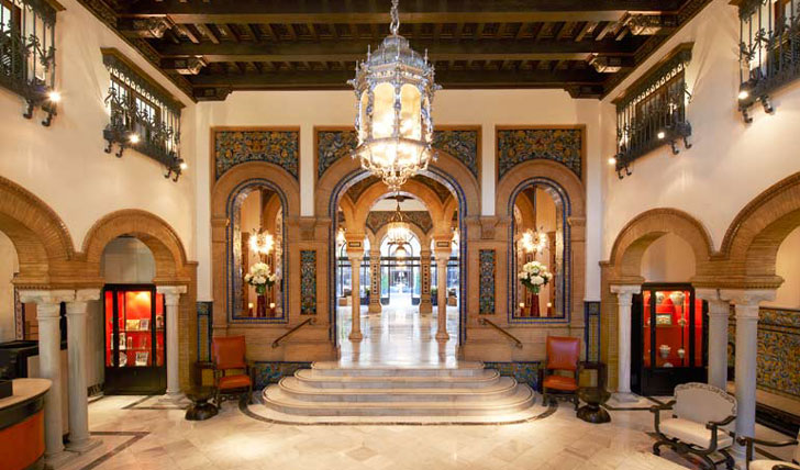 Luxury hotel lobby at Alfonso XIII, Seville, Spain