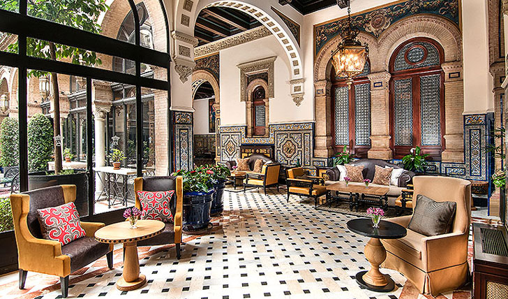 Luxury hotel lounge at Alfonso XIII, Seville, Spain