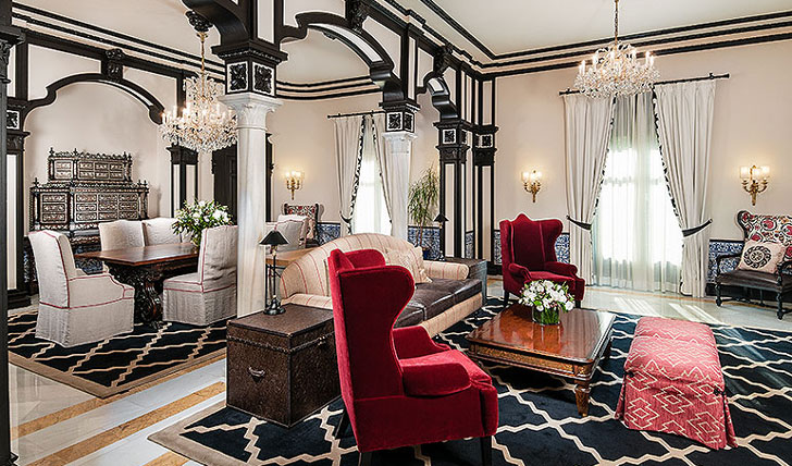 Luxury hotel Royal Suite living space at Alfonso XIII, Seville, Spain