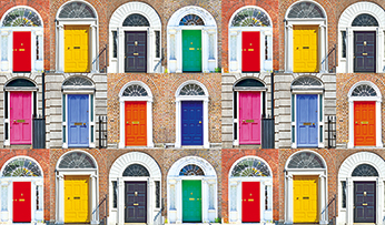 Colourful doors in Dublin, Ireland