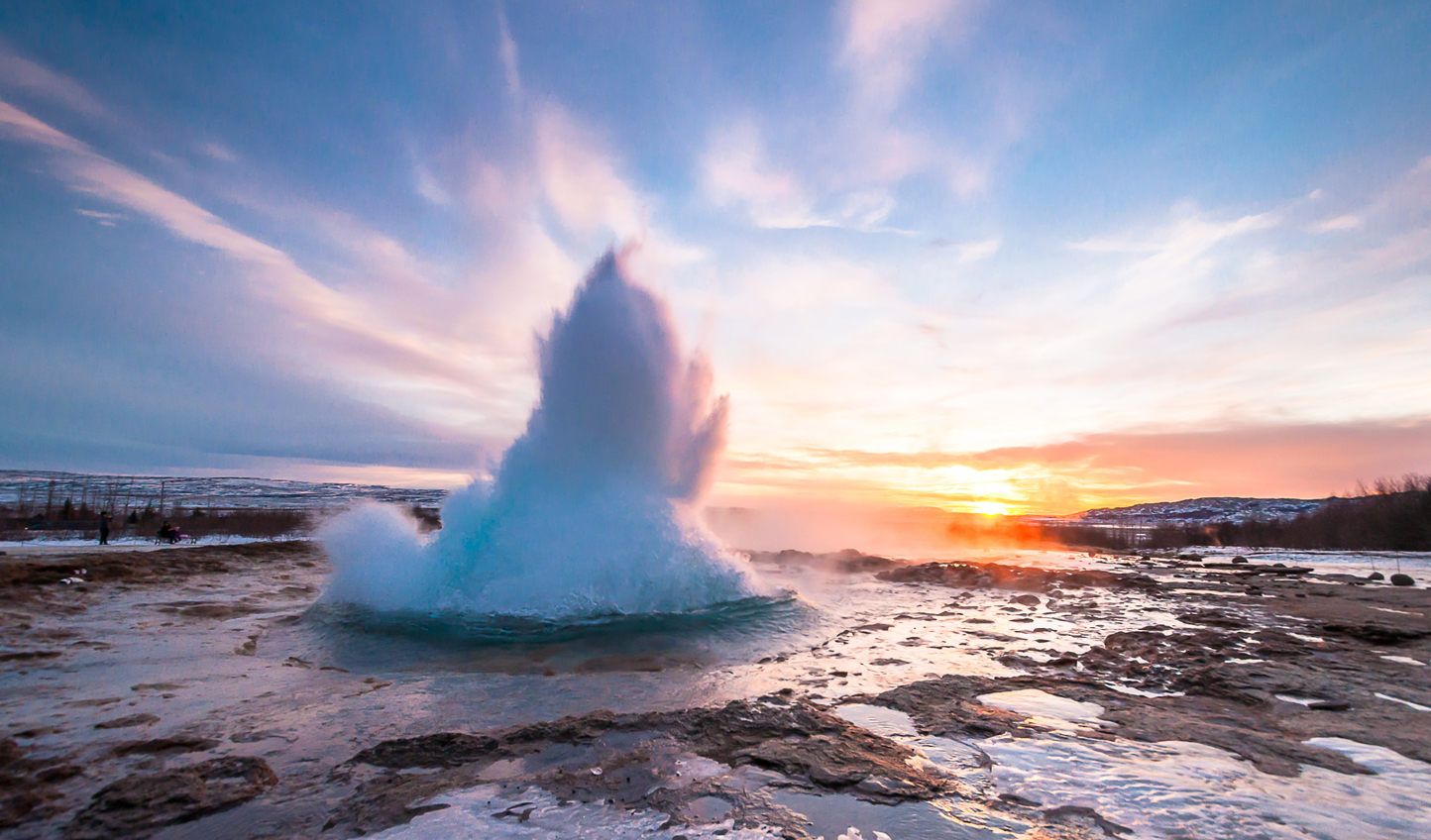 Marvel at the sight of geysers shooting up all around you