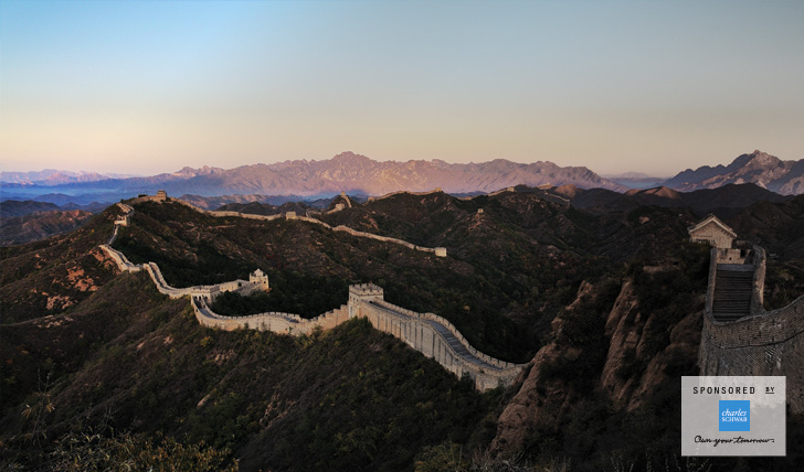 View over the Great Wall of China