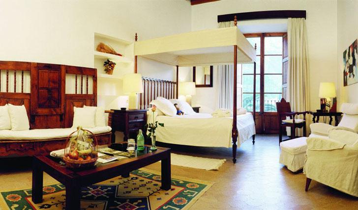 Luxury hotel guestroom at La Residencia, Mallorca, Spain