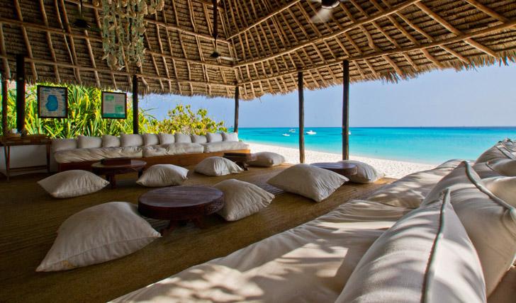 Beach cabana at Mnemba