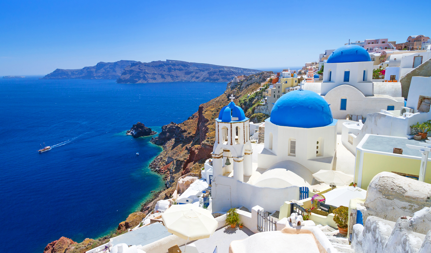 Santorini's beautiful blue-domed churches