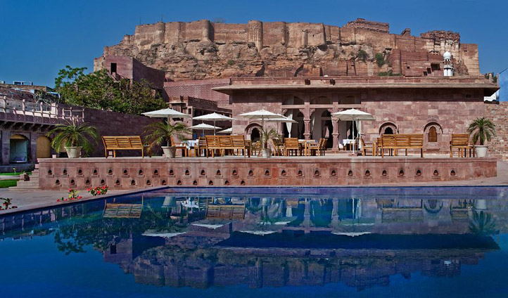 Views of Mehrangarh Fort from the pool
