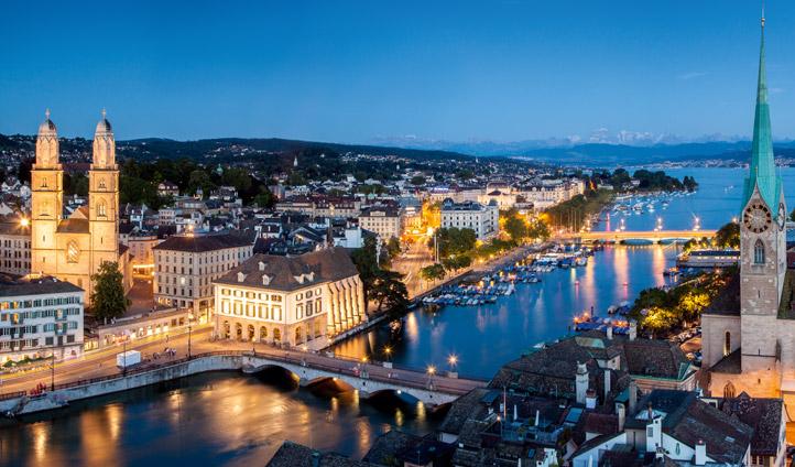 Night view over Zurich bridges