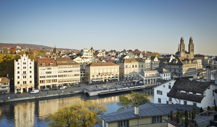 View from Lindenhof across Zurich Old Town