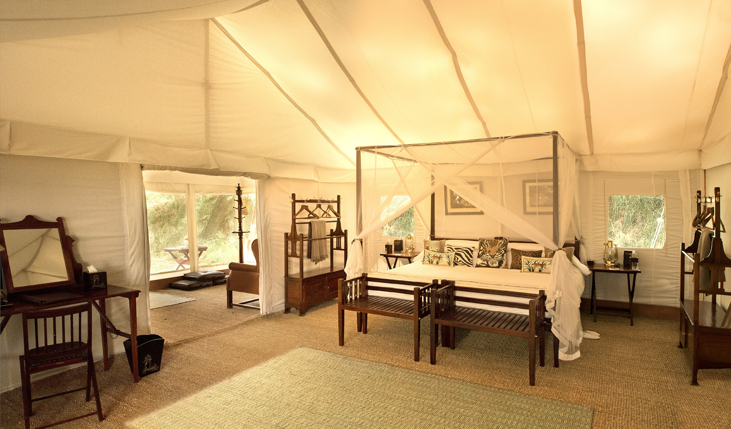 Inside your chic tent at Sher Bagh