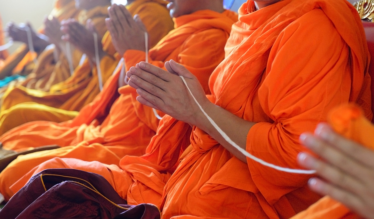 Cambodian Monks in a blessing ceremony
