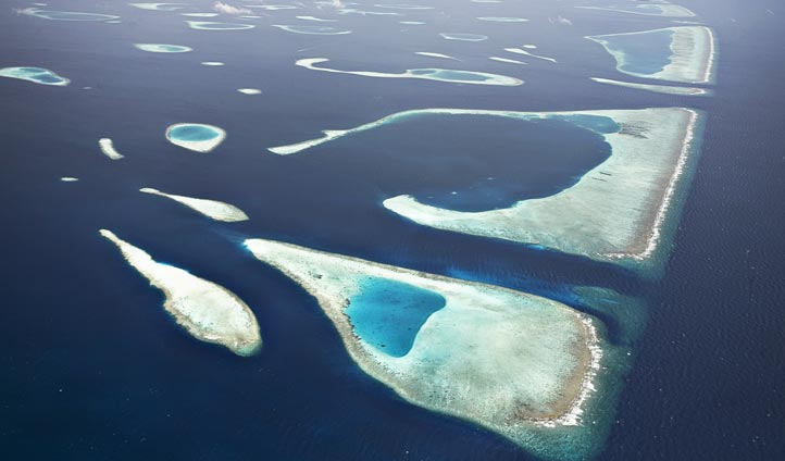 Aerial view of the North Male Atoll, Maldives