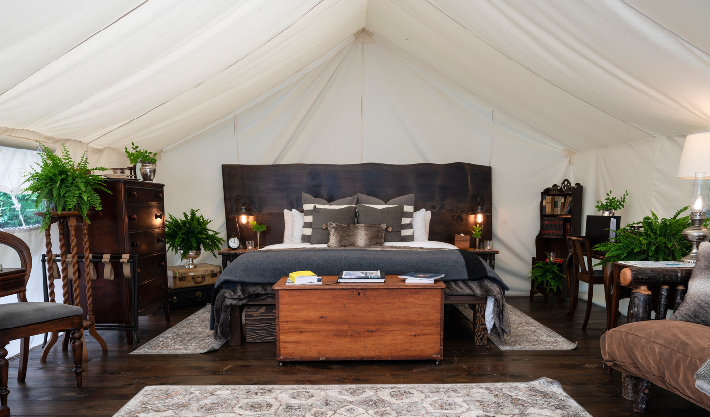 Cosy up in your rustic-chic tent
