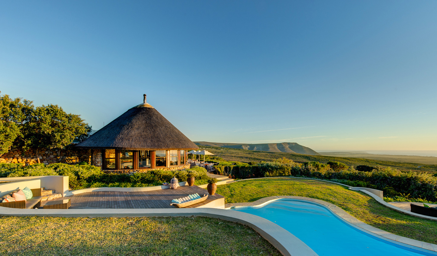 Relax by the pool in the sanctuary of Grootbos