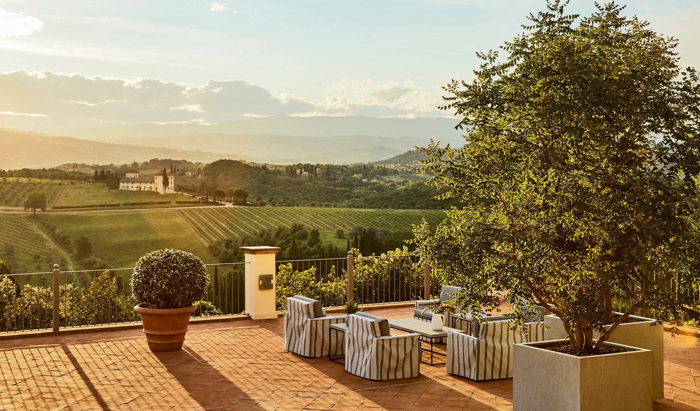 Soak in the Tuscan countryside from the comfort of the terrace