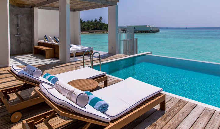 Amilla Fushi lagoon deck, the maldives