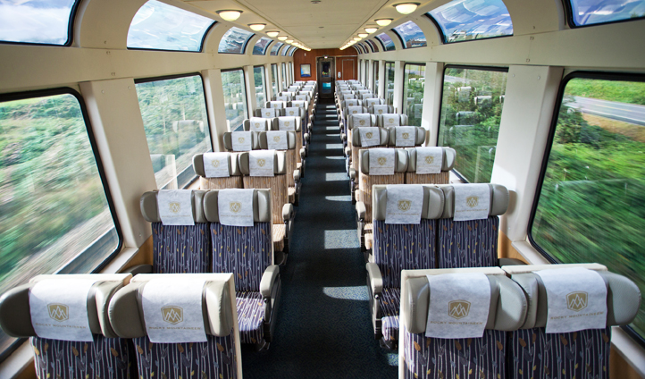 The glass roofed cabin on the Rocky Mountaineer