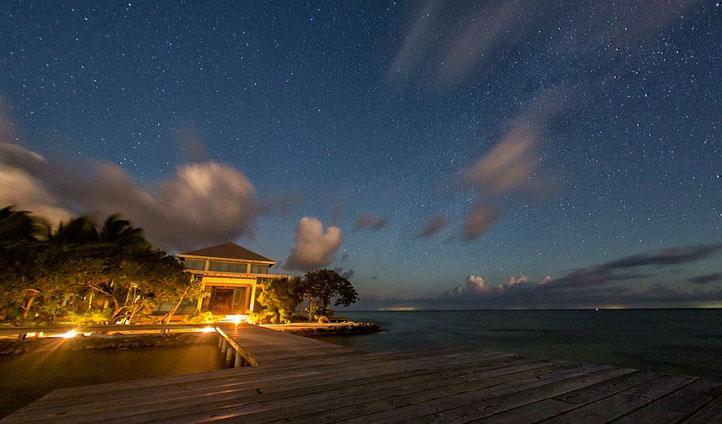 Dock at night, Cayo Espanto, Belize