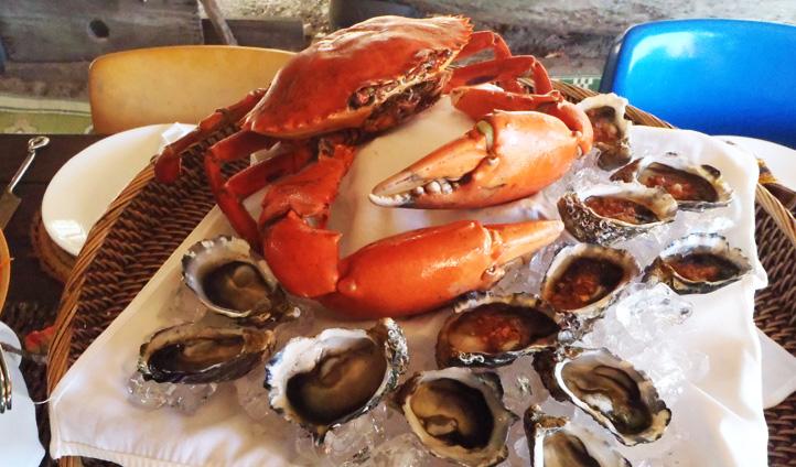 Seafood dinner at Banu Banu, Australia