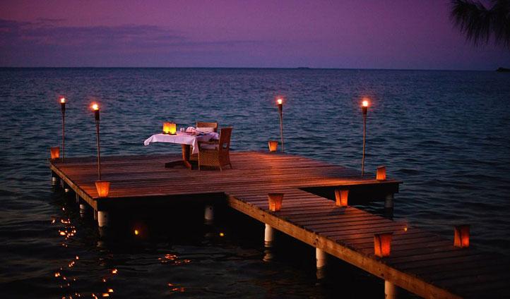 Candlelit dinner, Cayo Espanto, Belize