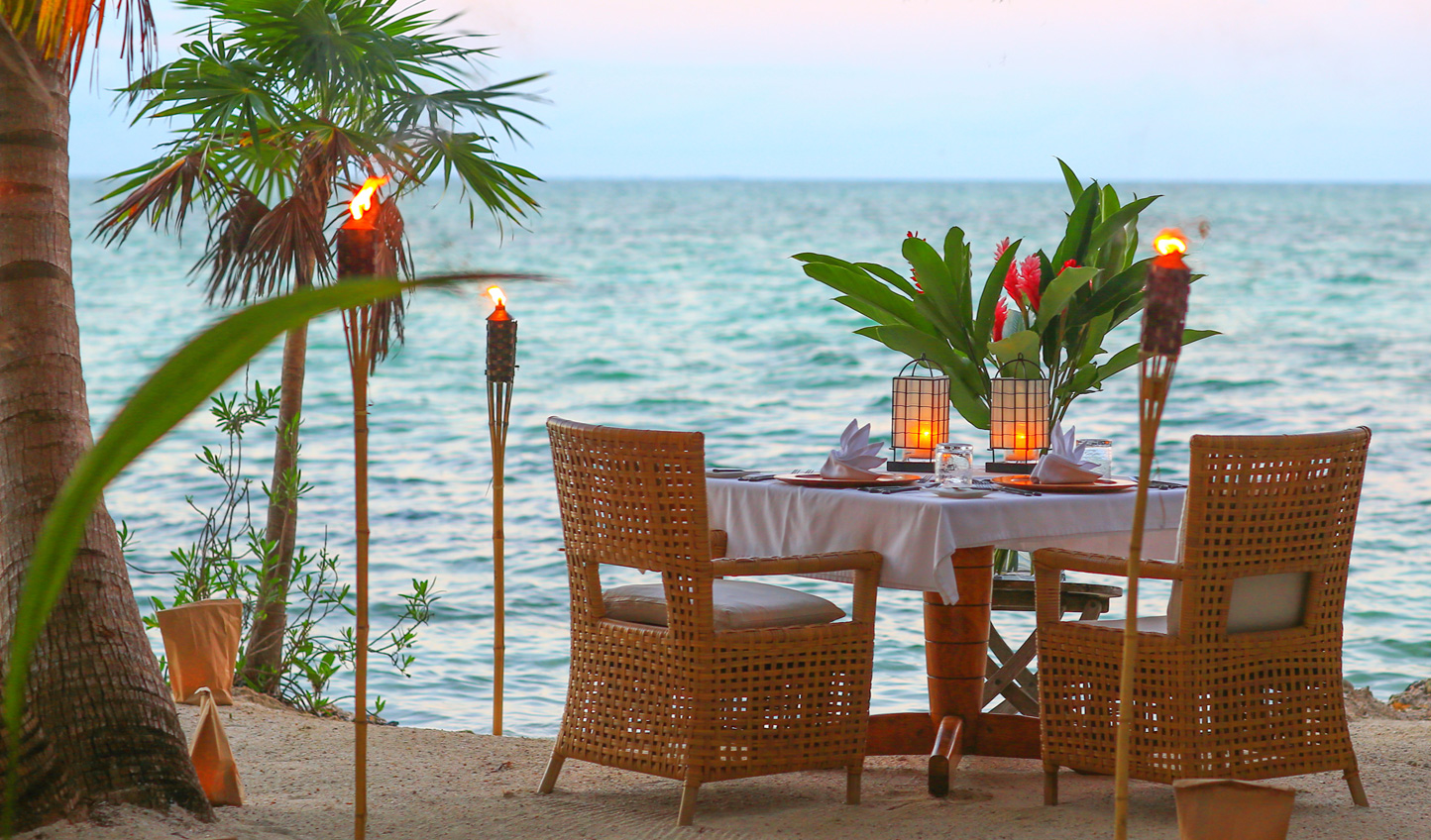 Find a secluded spot on the island for a romantic dinner for two