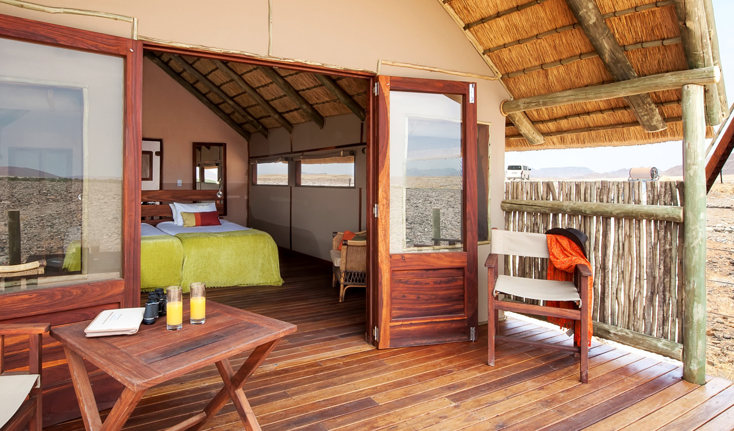 The individual chalets at Kulala Desert Lodge nestle into their surroundings