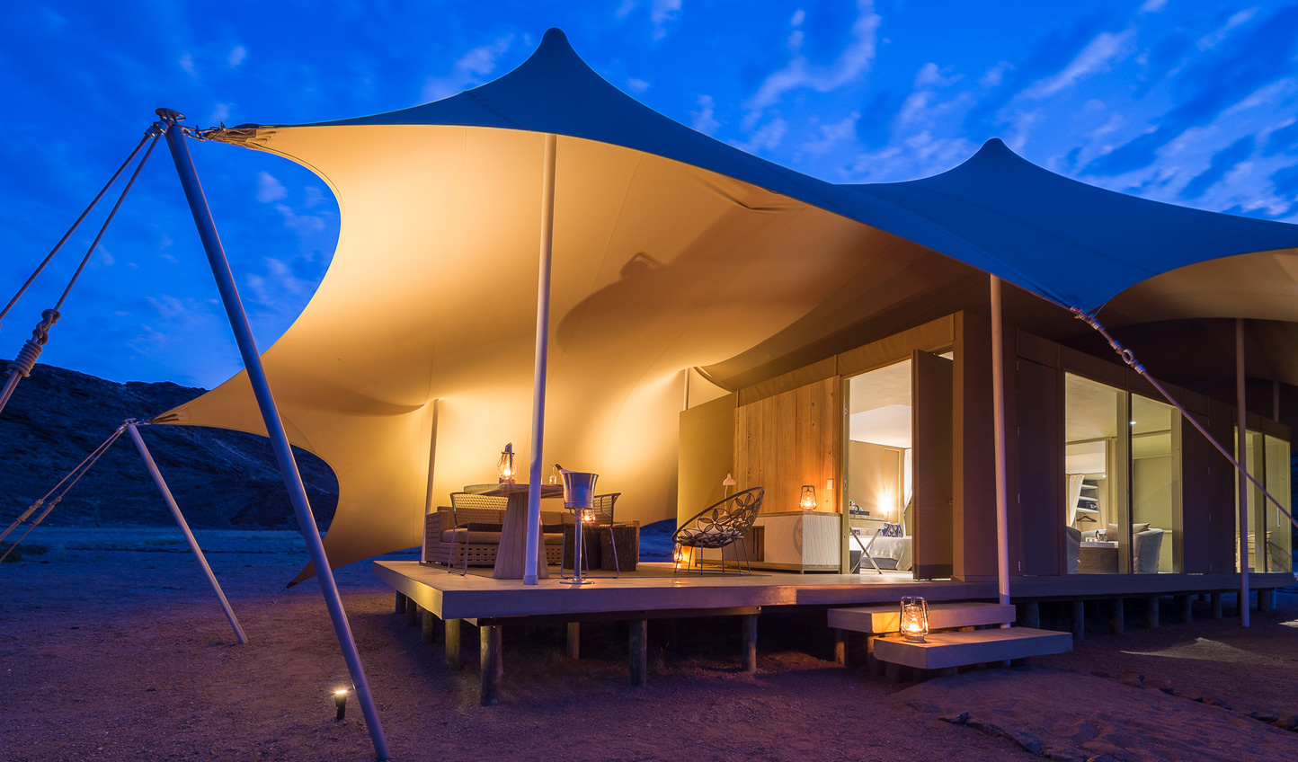 Stargaze from you private veranda at Hoanib Skeleton Coast Camp