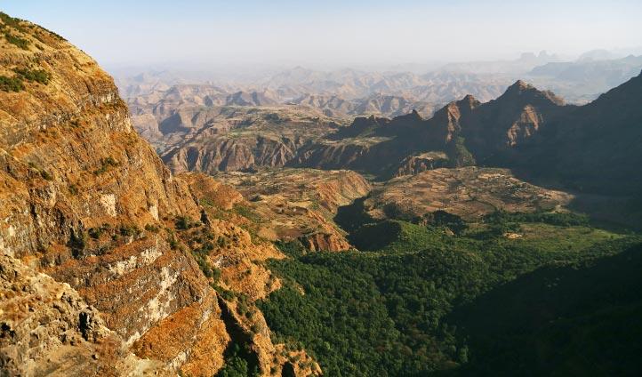 Panoramic views across the Simien Mountains, Ethiopia