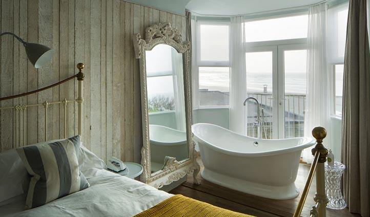 Bedroom views at Watergate Bay