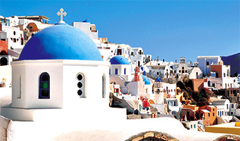 Blue and white buildings in Santorini