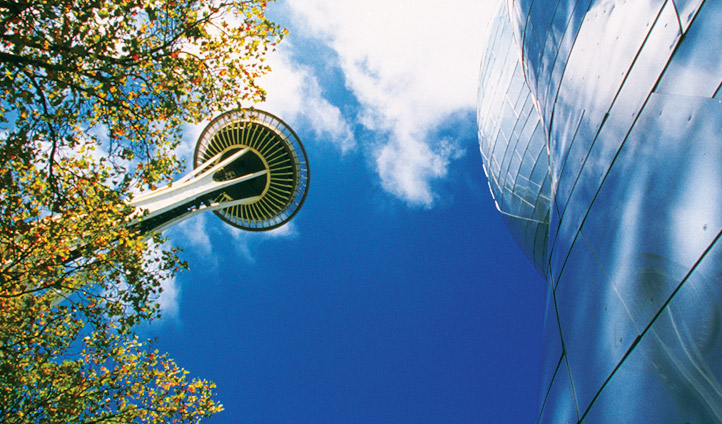 View from below EMC and Space needle, Seattle