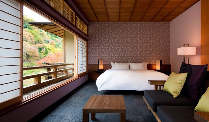 A room at the Hoshinoya Kyoto