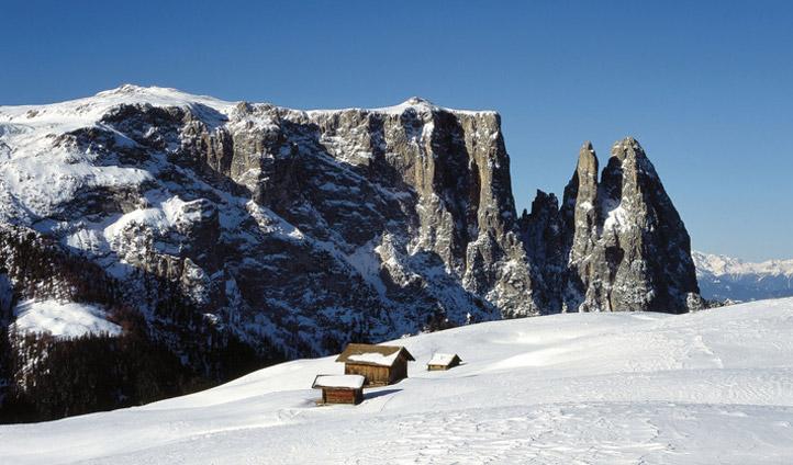Alpine huts in winter, South Tyrol
