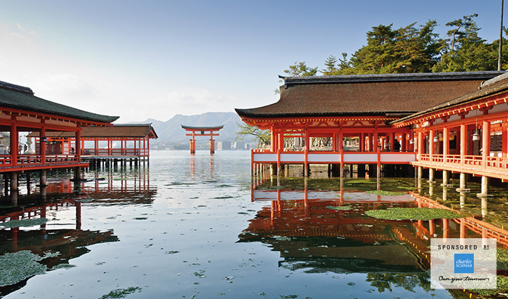 Japanese buildings on water