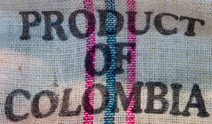 A coffee bean sack from Colombia