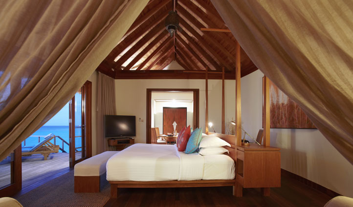 Stylishly decorated interiors at Anantara Dhigu