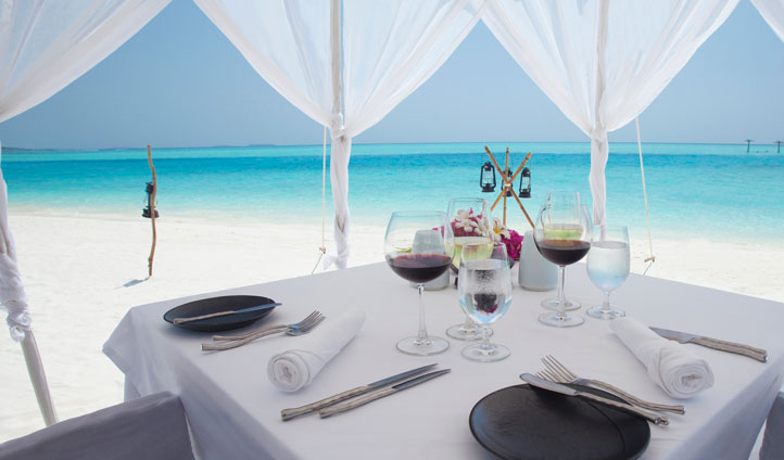 Romantic beach dining at Anantara Dhigu Resort & Spa