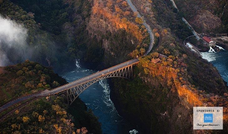Aerial view of bridge in Africa