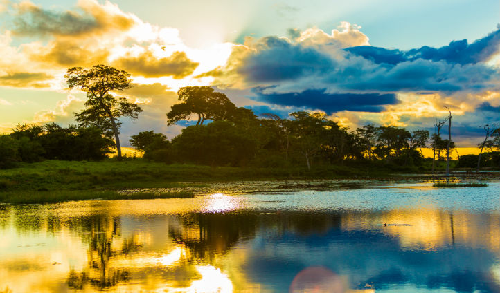 Embark on a sunset cruise on the Pantanal