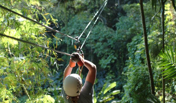Zip lining in Jamaica's rainforest