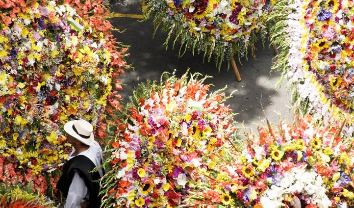 Flower festival parade in Medellin, Colombia