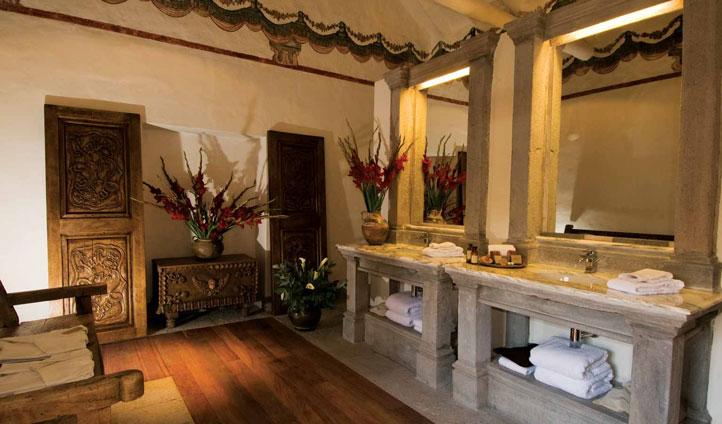 Ornate marble bathrooms at La Casona