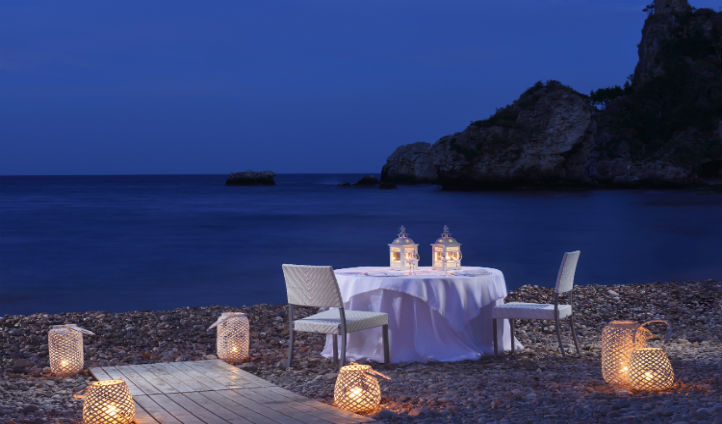 private dining on La Plage's pebble beach