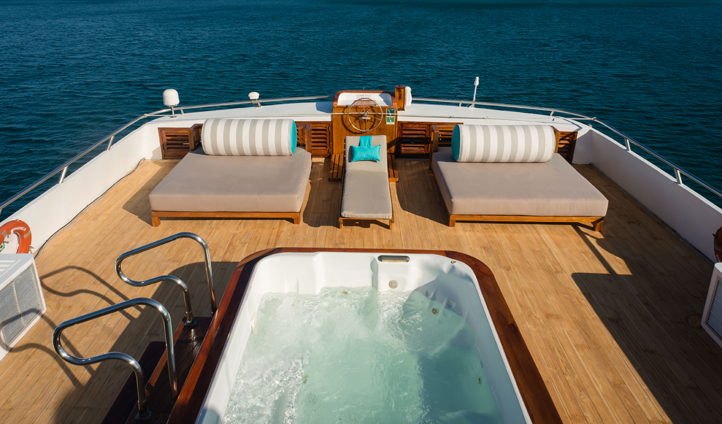 Take in the unforgettable views from your yacht's jacuzzi
