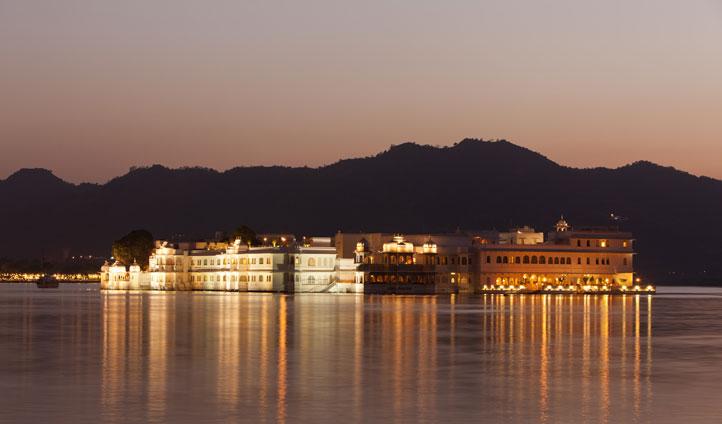 Finish your journey at the luxurious Taj Lake Palace